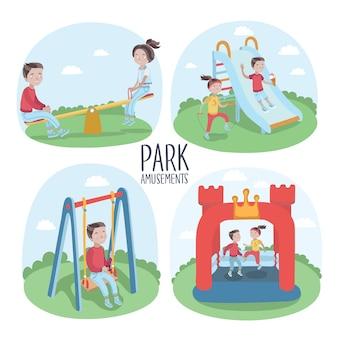 Insieme di elementi di parco giochi per bambini e bambini che giocano illustrazione