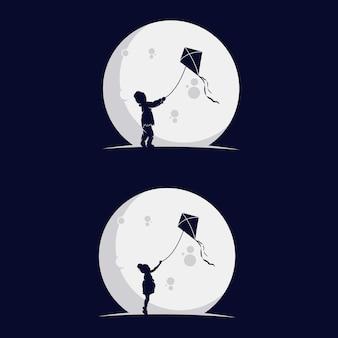 Set di bambini che giocano silhouette aquilone nella luna