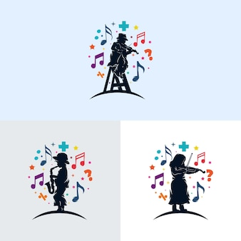 Set di bambini che giocano musica logo design Vettore Premium