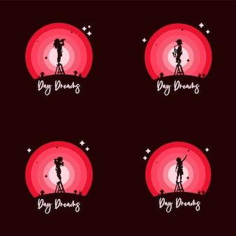 Set di bambini raggiungono il logo dei sogni