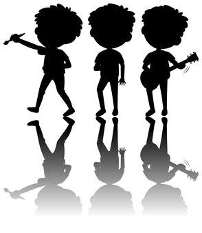 Set di silhouette di bambini con reflex su sfondo bianco