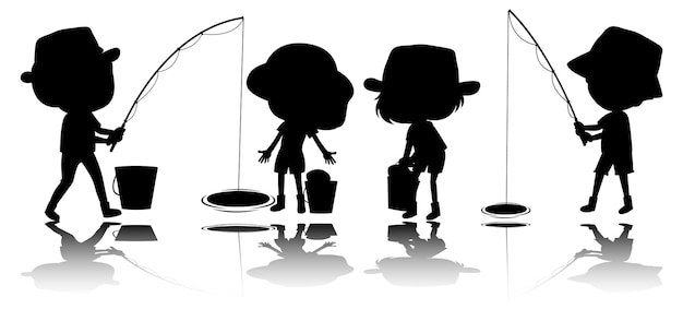 Set di silhouette di bambini con reflex
