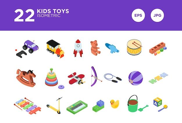 Imposta il vettore di disegno isometrico dei giocattoli per bambini