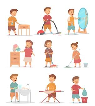 Set di bambini vari illustrazione di attività pulita