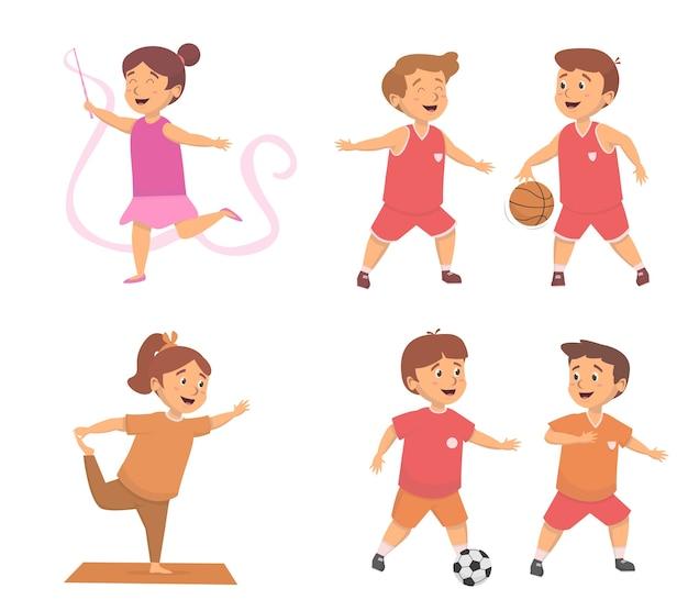 Impostare i bambini vari sport e divertenti attività di esercizio