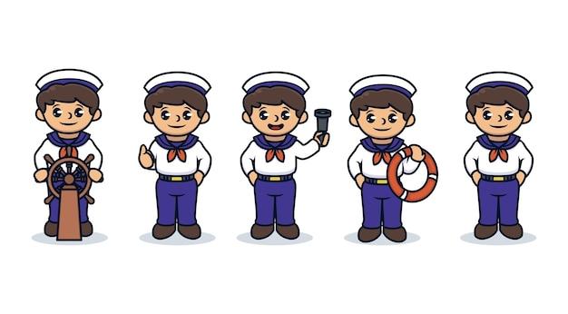 Set di bambini con costume da marinaio