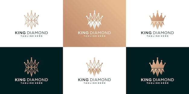 Set di modello di progettazione del logo del diamante re con concetto moderno e fress vettore premium