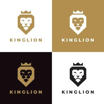 Set di modello di logo di corona di re leone