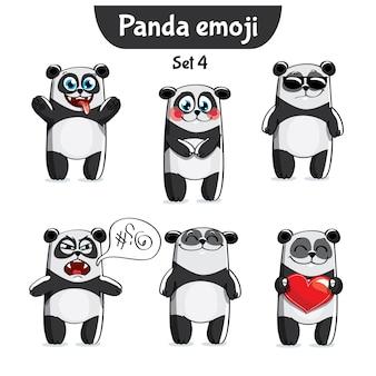Set kit raccolta adesivo emoji emoticon emozione illustrazione isolato felice personaggio dolce, carino panda