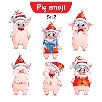Set kit raccolta adesivo emoji emoticon emozione vettore isolato illustrazione carattere felice dolce, maiale di natale