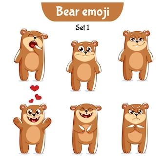 Set kit raccolta adesivo emoji emoticon emozione vettore isolato illustrazione carattere felice dolce, simpatico orso bruno