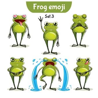 Set kit raccolta adesivo emoji emoticon emozione vettore isolato illustrazione carattere felice dolce, carina rana
