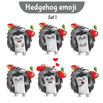 Set kit raccolta adesivo emoji emoticon emozione vettore isolato illustrazione carattere felice dolce, carino riccio