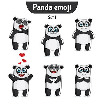 Set kit raccolta adesivo emoji emoticon emozione vettore isolato illustrazione carattere felice dolce, carino panda