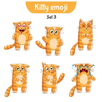 Set kit raccolta adesivo emoji emoticon emozione vettore isolato illustrazione carattere felice dolce, simpatico gatto rosso