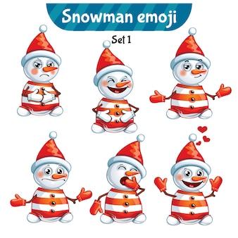Set kit raccolta adesivo emoji emoticon emozione vettore isolato illustrazione carattere felice dolce, simpatico pupazzo di neve