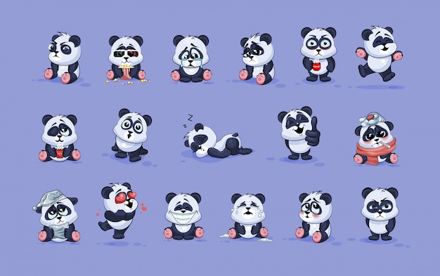 Metta la raccolta del corredo illustrazioni di riserva isolate emoticon degli autoadesivi del panda del fumetto del carattere di emoji con differenti emozioni
