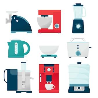 Set di elettrodomestici da cucina. illustrazione in stile piatto, attrezzature da cucina