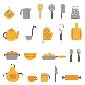 Set di utensili da cucina in stile disegnato a mano. raccolta di illustrazioni.