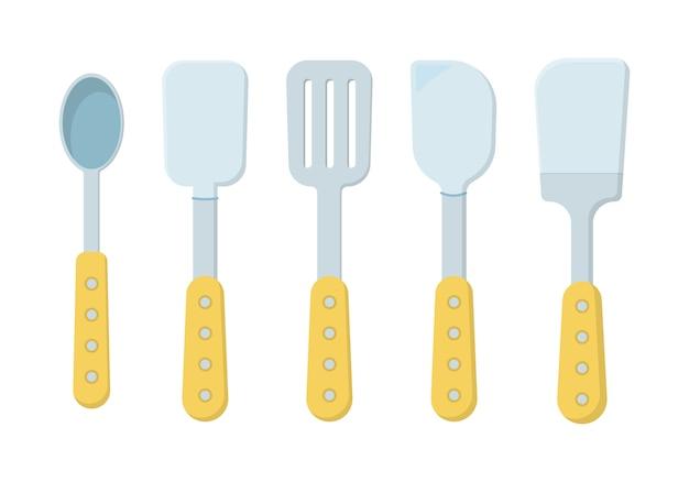Set di utensili da cucina isolati su uno sfondo bianco. icone in stile piatto. un sacco di utensili da cucina in legno, utensili, posate. collezione di stoviglie.