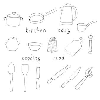 Set di utensili da cucina per cucinare, illustrazione vettoriale doodle, schizzo di contorno