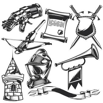 Set di elementi cavalieri per creare badge, loghi, etichette, poster, ecc.