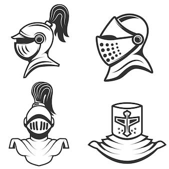 Set di elmetti da cavaliere su sfondo bianco. elementi per, etichetta, emblema, segno, marchio. illustrazione