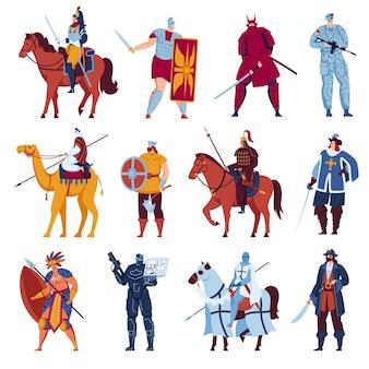 Set di cavalieri con arma isolato su bianco