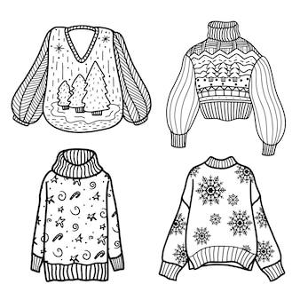 Set di maglioni e maglioni lavorati a maglia in stile scarabocchio