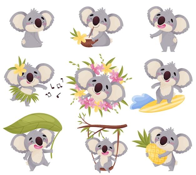 Set di koala isolato su bianco