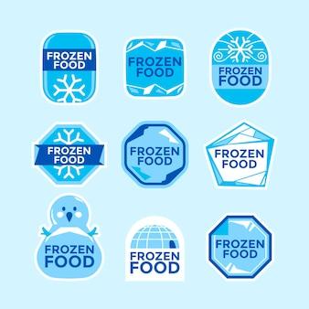 Set di modelli di etichette di prodotti alimentari surgelati illustrazioni disegnate a mano