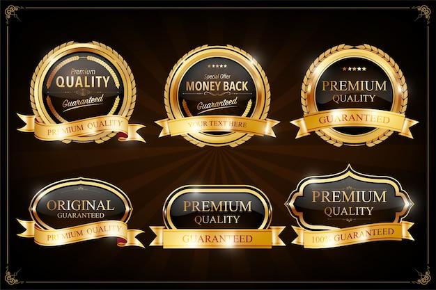 Set di etichette con elementi in oro.