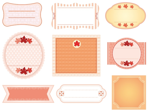 Set di etichette in colori autunnali isolato su uno sfondo bianco