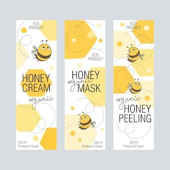 Set di etichette per cosmetici con miele d'api