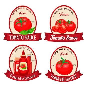 Set di etichette per la progettazione di salsa ketchup di prodotto di pomodoro. illustrazione.