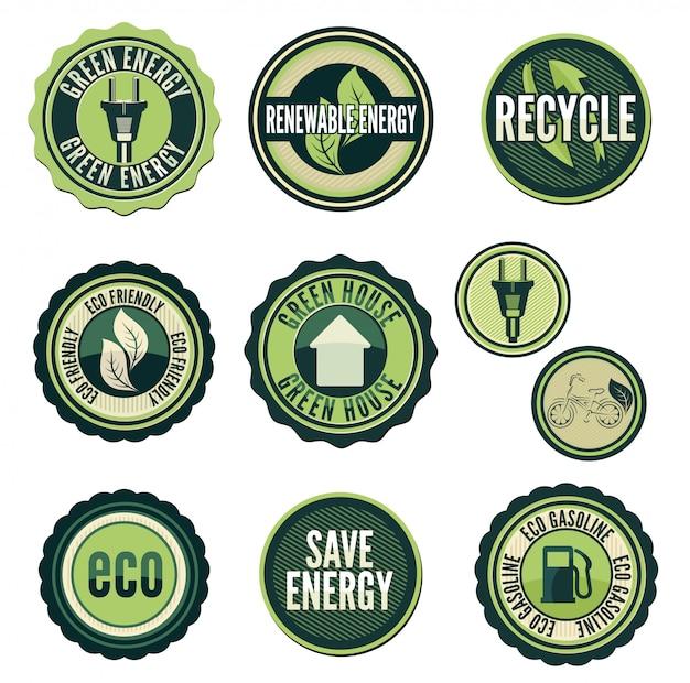 Set di etichette ed elementi per la tecnologia verde