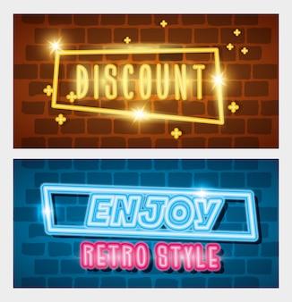 Set di etichette al neon in stile retrò