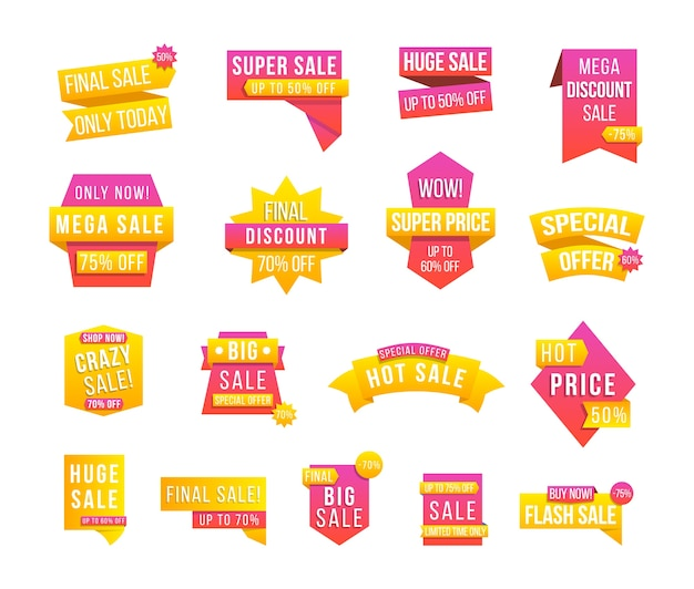 Set di etichette e cartellini con informazioni pubblicitarie per promozione e grandi vendite