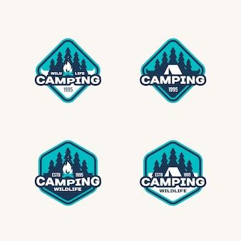 Set di etichette sui temi dell'avventura nella fauna selvatica e del campeggio