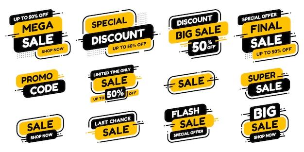 Metta le etichette con l'annuncio di vendita dell'iscrizione o il promo. concetto di shopping.