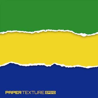 Set di carte brillanti lacerate nei colori della bandiera del brasile,