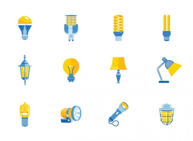 Set di lampade, lampadine e lanterne isolati