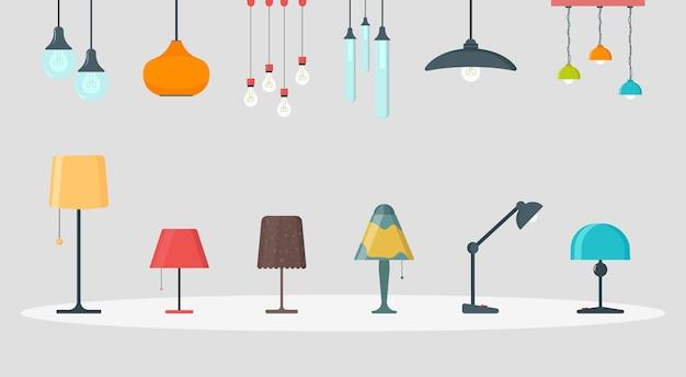 Una serie di lampade su uno sfondo bianco.