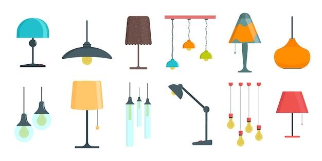 Una serie di lampade su bianco