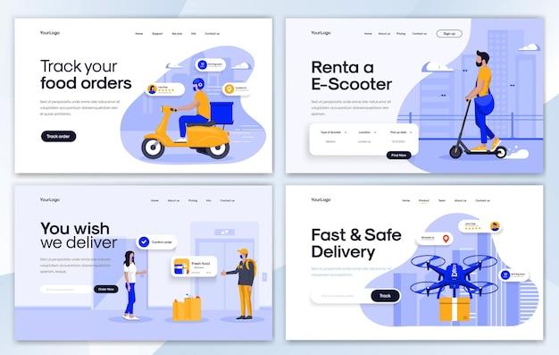 Set di modelli di design della pagina di destinazione in stile design piatto