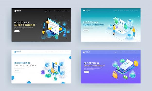Set di landing page con contratti online da smartphone e laptop con investimento in denaro per block chain smart contract.