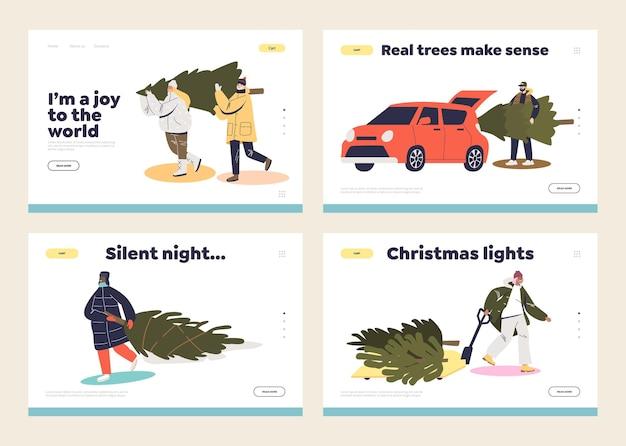 Set di pagine di destinazione per il concetto di preparazioni natalizie con personaggi dei cartoni animati e alberi