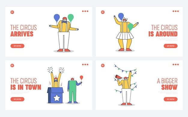 Set di pagine di destinazione per il sito web del circo con personaggi di clown dei cartoni animati