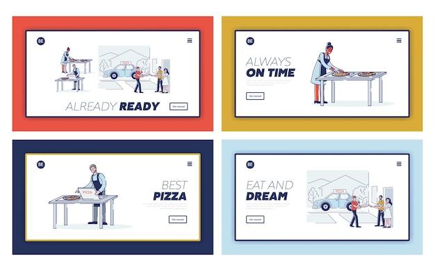 Set di pagine di destinazione per il servizio di consegna pizza online.