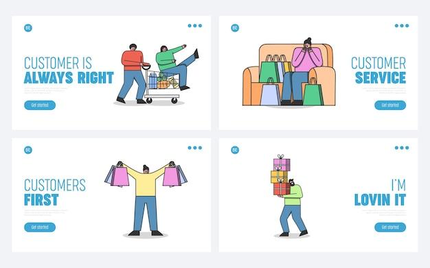 Set di pagine di destinazione per il sito web di shopping online